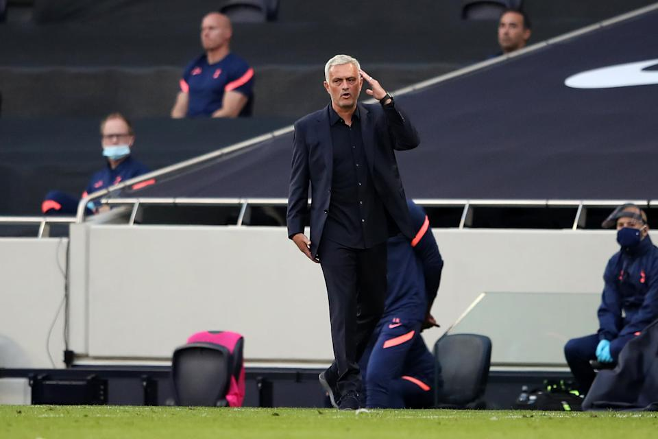 LONDON, ENGLAND - SEPTEMBER 13: Jose Mourinho, Manager of Tottenham Hotspur reacts during the Premier League match between Tottenham Hotspur and Everton at Tottenham Hotspur Stadium on September 13, 2020 in London, England. (Photo by Alex Pantling/Getty Images)