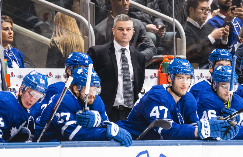 TORONTO, ON - FEBRUARY 13: Sheldon Keefe head coach of the Toronto Maple Leafs looks on against the Dallas Stars during the second period at Scotiabank Arena on February 13, 2020 in Toronto, Ontario, Canada. (Photo by Mark Blinch/NHLI via Getty Images)