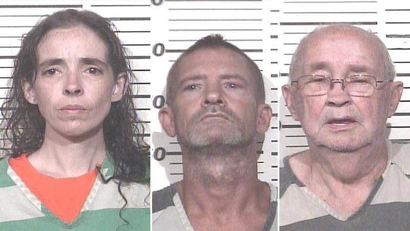 The mugshots of Heather Scarbrough (left), Thomas Brown (middle) and Charles Brown (right).