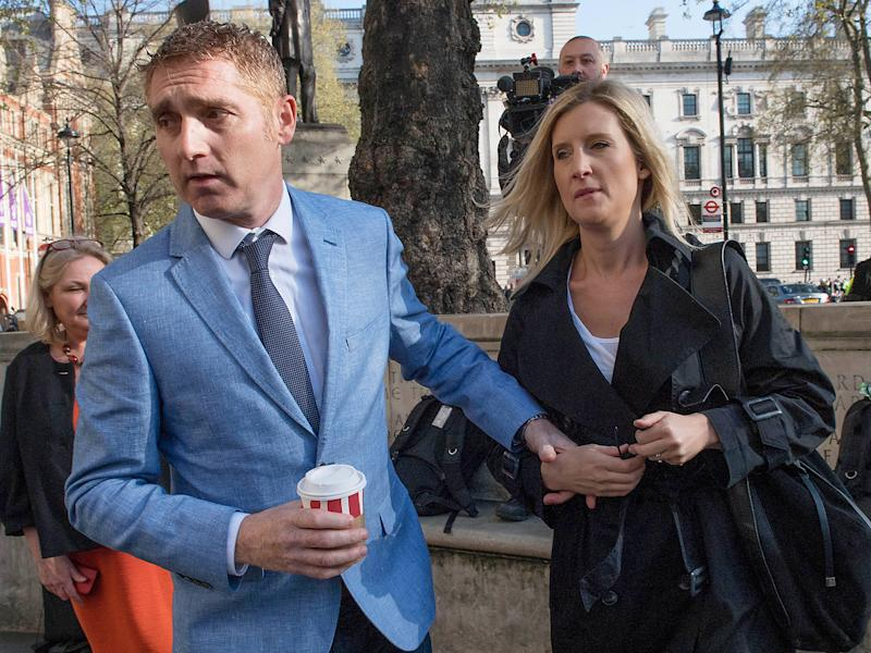 Jon Platt arrives at the Supreme Court in central London with his wife Sally for the ruling on the much-anticipated legal case on an unauthorised holiday during school term-time: PA
