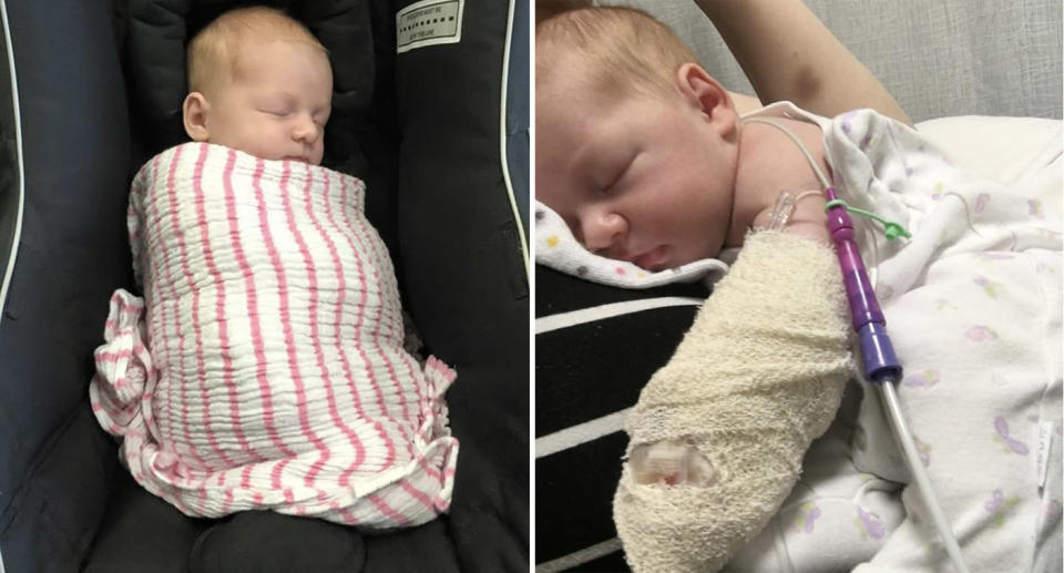 These photos were taken almost 12 hours apart, showing how quickly Lyla fell ill. Source: Megan Cockburn