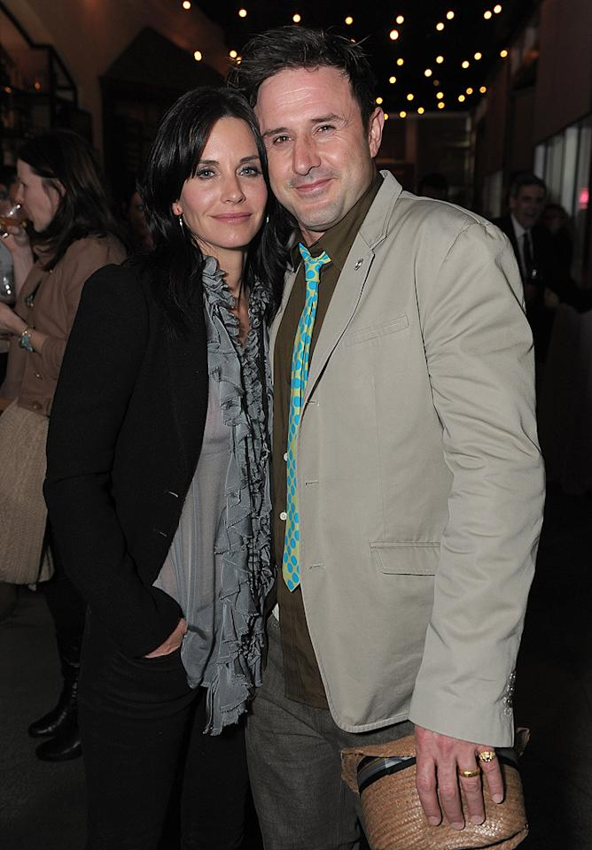"<p class=""MsoNoSpacing"">When Courteney Cox and David Arquette said ""I do"" in 1999, they had the phrase ""A Deal's a Deal""<span> </span>engraved on  the inside of their wedding bands, as well as on the marquee outside their reception. ""We thought it  was really sweet,"" the ""Cougar Town"" actress said in 2007. ""It really makes sense,"" agreed her  then-hubby. The next year, Cox admitted she and Arquette were  in therapy because ""divorce is not an option."" But their deal was called off in  October 2010, when she filed for divorce from her ""Scream"" co-star. Still, the two, who are parents to a 7-year-old daughter named Coco, have remained good friends though it all.</p>"