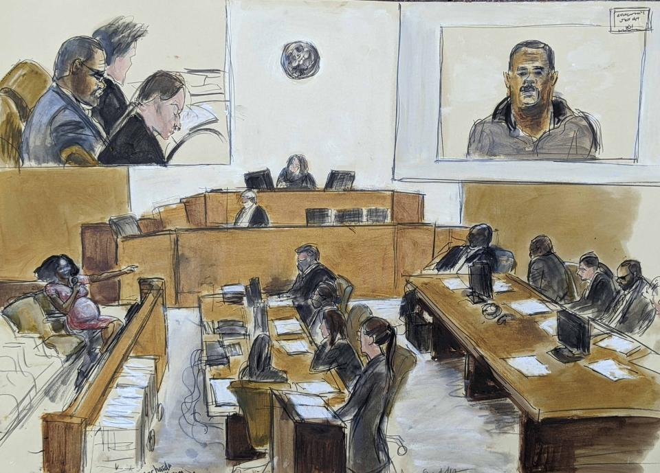 In this courtroom artist's sketch made from a video screen monitor of a Brooklyn courtroom, defendant R. Kelly, top left, listens as Jerhonda Pace, far left, testifies against the R&B star during the singer's sex abuse trial, Wednesday Aug. 18, 2021, in New York. (Elizabeth Williams via AP)