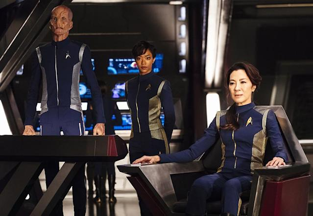 <p>Doug Jones as Lieutenant Saru, Sonequa Martin-Green as First Officer Michael Burnham and Michelle Yeoh as Captain Philippa Georgiou in CBS's <i>Star Trek: Discovery</i>.<br><br>(Photo: Jan Thijs/CBS) </p>