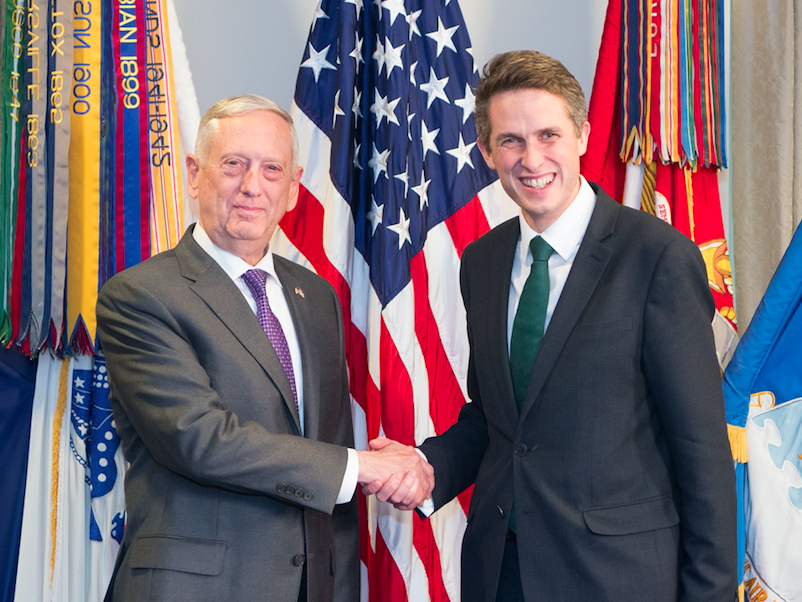 <em>Mr Williamson's US counterpart Jim Mattiss (left) urged countries to take back their fighters (Rex)</em>