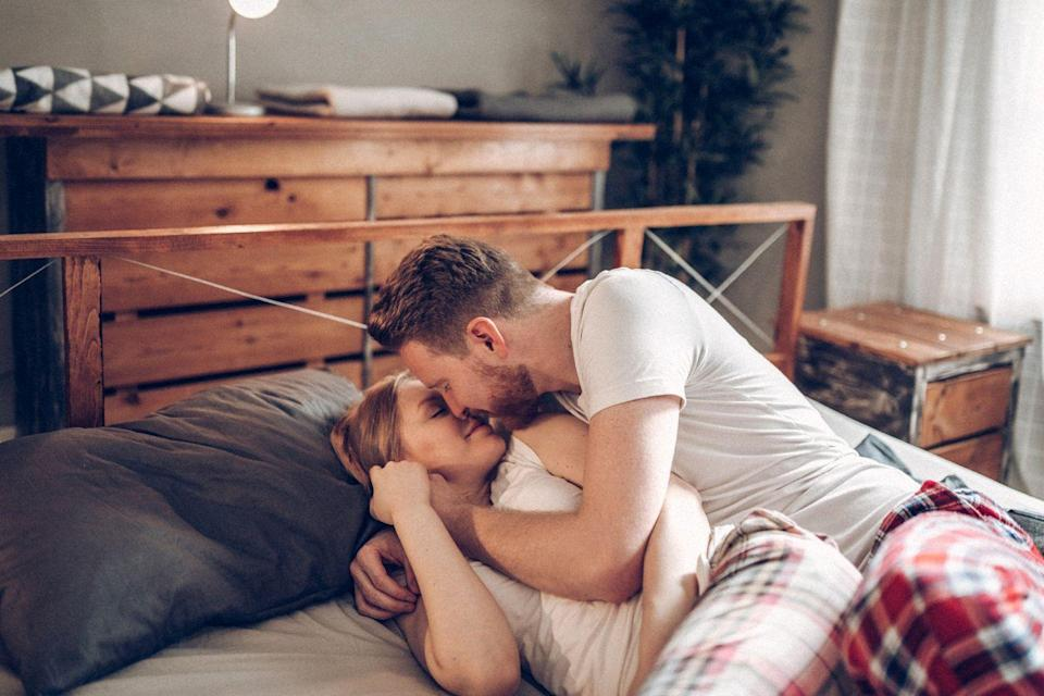 """<p>It's part of the norm to call each other """"babe"""" or """"honey"""" throughout the day, but Tatkin says that if he says your first name in the midst of sex, it's a sign that he's fully present in the moment with you and doesn't want <a href=""""https://www.womansday.com/relationships/sex-tips/a967/8-reasons-he-doesnt-want-to-have-sex-91131/"""" rel=""""nofollow noopener"""" target=""""_blank"""" data-ylk=""""slk:to be intimate"""" class=""""link rapid-noclick-resp"""">to be intimate</a> with anyone else. Another clue is eye contact in the bedroom, as Tatkin says it shows that he's interested and only thinking about you.</p>"""