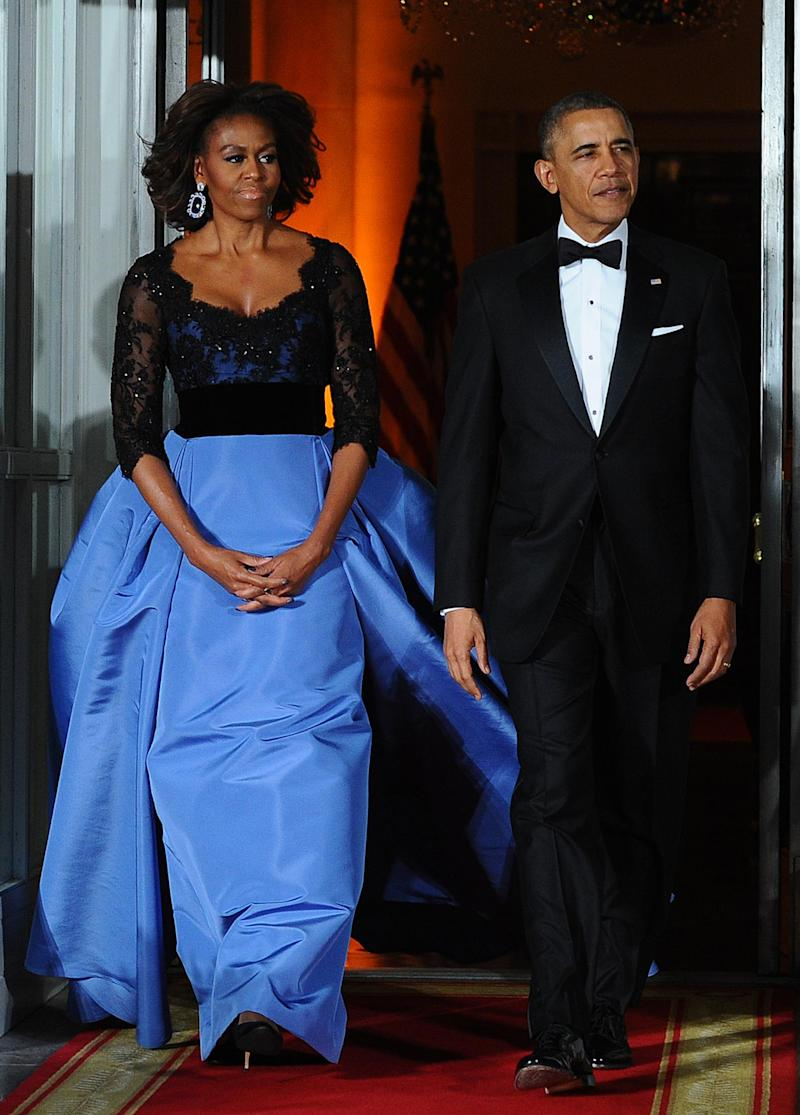 Michelle and Barack Obama arriving for a state dinner in 2014. (Getty Images)