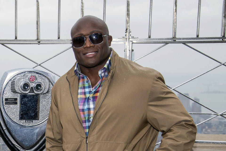 FILE - WWE Superstar Bobby Lashley visits the Empire State Building to promote WrestleMania 35 in New York, in this Friday, April 5, 2019, file photo. Fifty-four year old Bill Goldberg returns for his second match of the year when he challenges Lashley for the WWE title Saturday night, Aug. 21, 2021, at SummerSlam at Allegiant Stadium. (Photo by Charles Sykes/Invision/AP, File)
