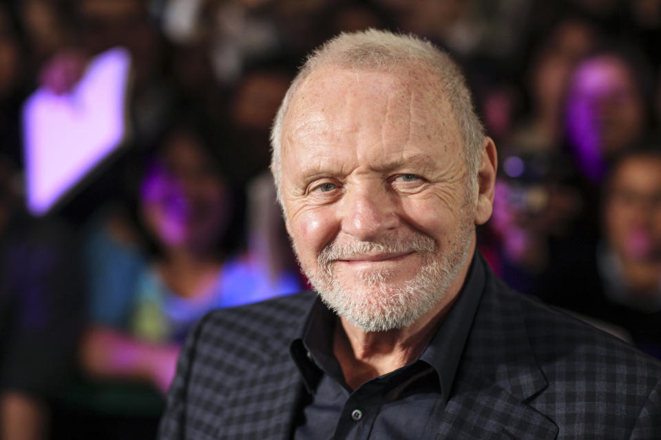 FILE - In this Feb. 15, 2011 file photo, Anthony Hopkins smiles while posing for photos prior to the premiere of his new film