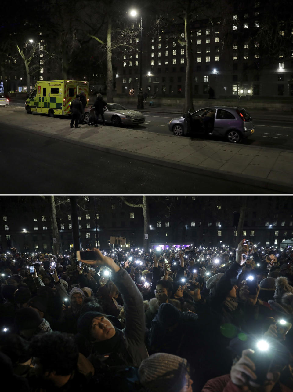 In this combo of image which shows at top, an ambulance and press photographers waiting on the otherwise empty street opposite the London Eye Ferris wheel in London, Thursday, Dec. 31, 2020, and in the bottom photo taken in the same place, people waiting to take photos of fireworks over the London Eye Ferris wheel, as midnight approaches, Tuesday, Dec. 31, 2019 .(AP Photo/Matt Dunham)