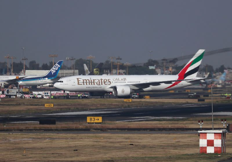 FILE PHOTO: Emirates Airline Boeing 777-200LR lands at Mexico City International Airport during its first route from Dubai via Barcelona to Mexico City