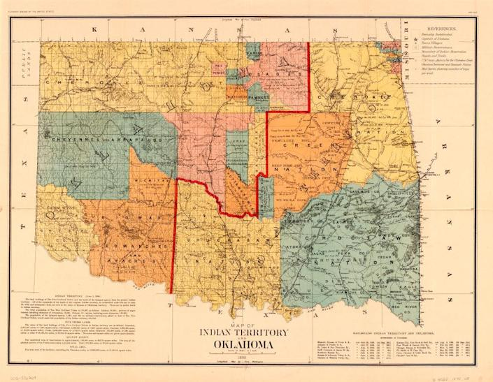 Map of Indian Territory and Oklahoma, U.S. Bureau of the Census, 1890