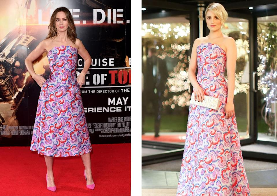 <p>Emily donned a slightly shorter version of the Osman dress that Dianna wore a couple of years previously. <i>[Photo: Rex]</i></p>