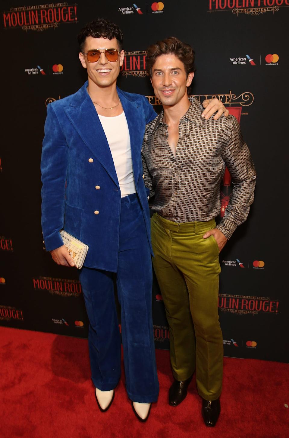 """<p>In 2010, Adams and Brown were two up-and-coming stars in <strong>Priscilla, Queen of the Desert</strong>, and there was much more than glitter flying between them. <a href=""""http://www.playbill.com/article/two-of-broadways-hottest-dancers-reveal-their-love-story"""" class=""""link rapid-noclick-resp"""" rel=""""nofollow noopener"""" target=""""_blank"""" data-ylk=""""slk:The couple recounted their meeting"""">The couple recounted their meeting</a> to <strong>Playbill</strong> in 2016, sharing that the flirty nature of the show helped them connect as just a """"fun"""" thing at first, before it blossomed into something more. """"I didn't put that much thought into whether or not it would last. I was just like, """"This is fun,"""" so the fact that it has lasted...is the benefit of that,"""" Brown said. Adams most recently was in the national tour of <strong>Falsettos</strong>, while Brown is currently a dancer in <strong>Moulin Rouge</strong>.</p>"""