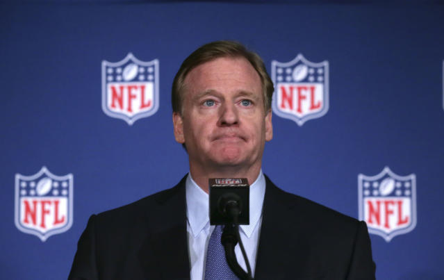 NFL Commissioner Roger Goodell at a press conference after the NFL owners meeting in Irving, Tex., on Dec. 13, 2017. (AP/LM Otero)