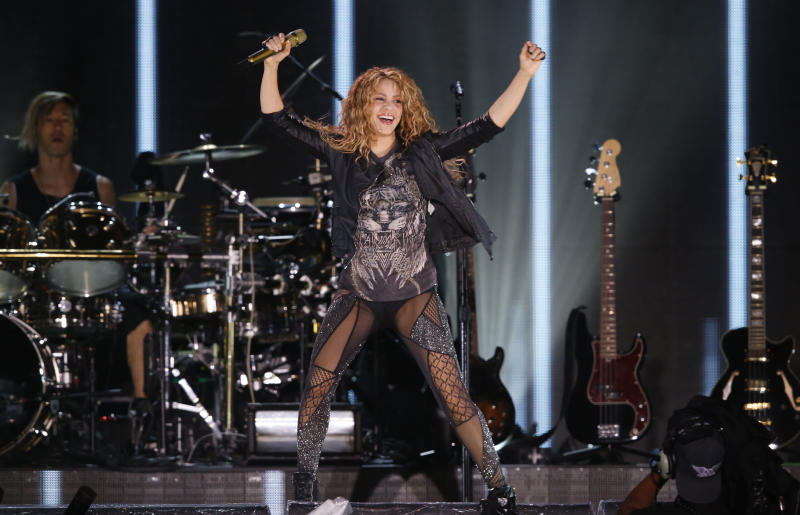 Colombia's singer Shakira performs at Azteca Stadium in Mexico City, Thursday, Oct. 11, 2018. (AP Photo/Marco Ugarte)
