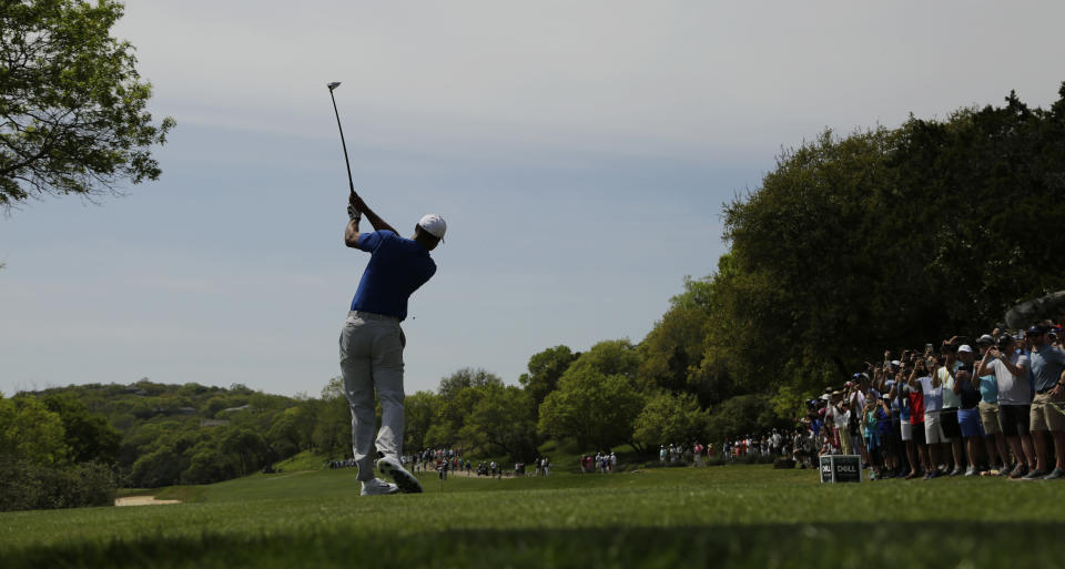 Tiger Woods hits his drive from the third tee during round-robin play at the Dell Match Play Championship golf tournament, Wednesday, March 27, 2019, in Austin, Texas. (AP Photo/Eric Gay)