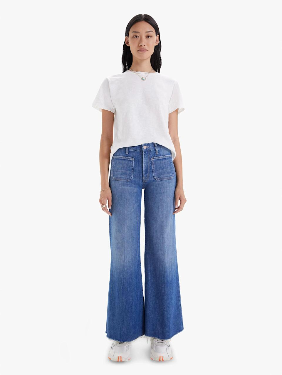 <p><span>Mother Denim The Patch Pocket Roller Fray in Beginner's Luck</span> ($238)</p>