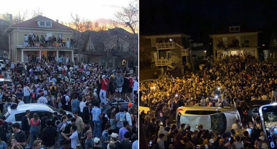 Images of a huge street party near the University of Colorado in Boulder, with cars overturned.