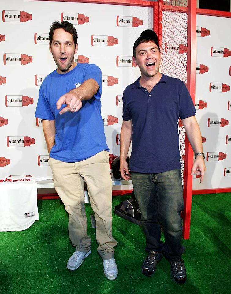 """Funnymen Paul Rudd and Joe Lo Truglio joke around with the photographers. Astrid Stawiarz/<a href=""""http://www.gettyimages.com/"""" target=""""new"""">GettyImages.com</a> - July 14, 2008"""