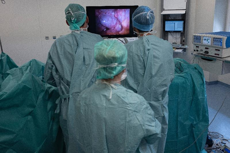 The images from the laparoscopy show several metastases on the patient's peritoneal wall (AFP Photo/ROMAIN LAFABREGUE)