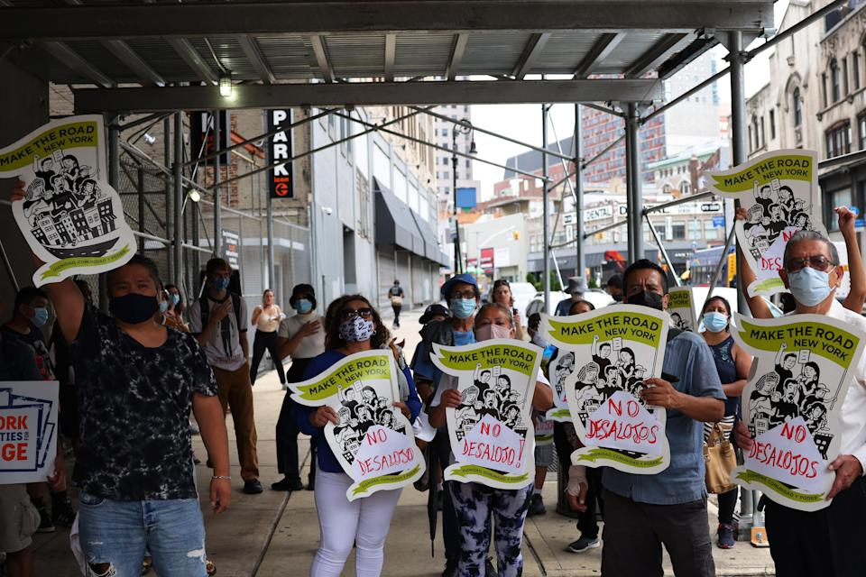 File image: Demonstrators gather at Brooklyn Housing court during a 'No Evictions, No Police' national day of action on 1 September, 2020 in New York City (Getty Images)