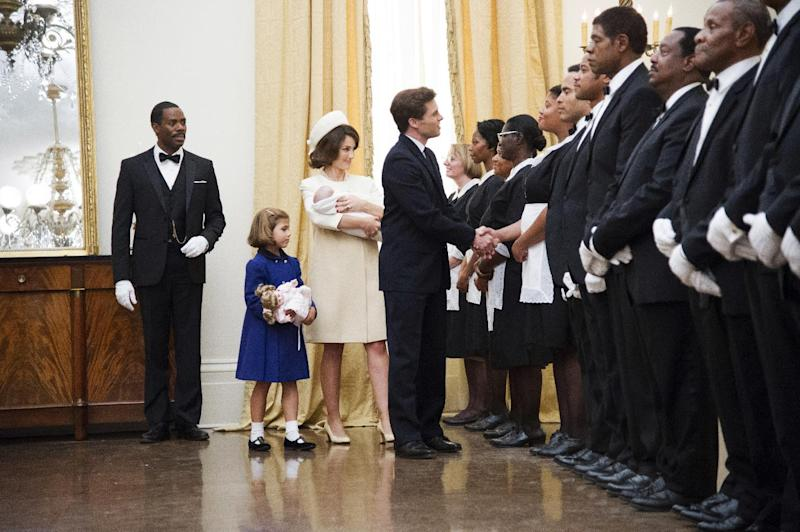 "This image released by The Weinstein Company shows, from second left, Chloe Barach as Caroline Kennedy, Minka Kelly as Jackie Kennedy, James Marsden as President John F. Kennedy and Forest Whitaker as Cecil Gaines, third from right, in a scene from ""Lee Daniels' The Butler."" A wide range of actors have played President John F. Kennedy in the movies and on TV. ??(AP Photo/The Weinstein Company, Anne Marie Fox)"