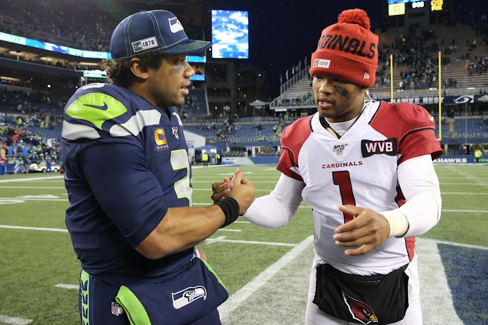 SEATTLE, WASHINGTON - DECEMBER 22: Russell Wilson #3 of the Seattle Seahawks and Kyler Murray #1 of the Arizona Cardinals shake hands after the Arizona Cardinals defeated the Seattle Seahawks 27-13 during their game at CenturyLink Field on December 22, 2019 in Seattle, Washington. (Photo by Abbie Parr/Getty Images)