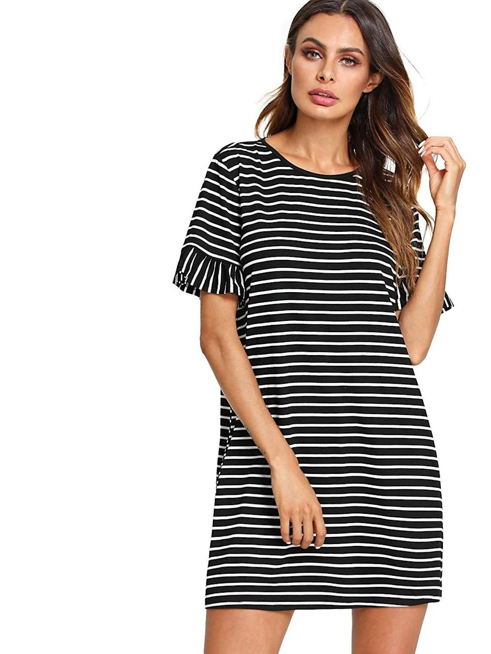 <p>Style this <span>Floerns Striped Short-Sleeve T-Shirt Dress</span> ($18) with a denim jacket and some sneakers for an easygoing look.</p>