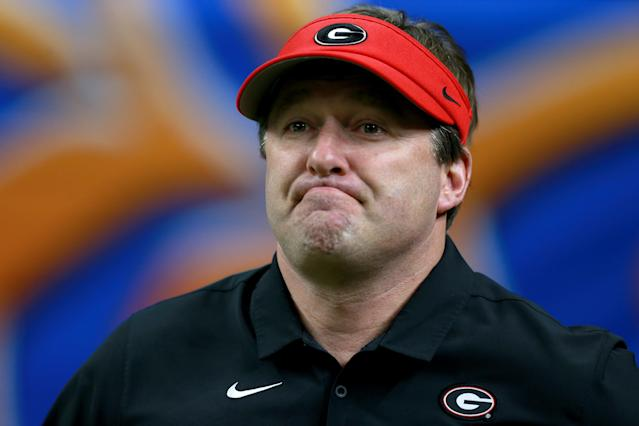 Georgia coach Kirby Smart had two ace quarterbacks and he had to fold his hand. (Photo by Sean Gardner/Getty Images)