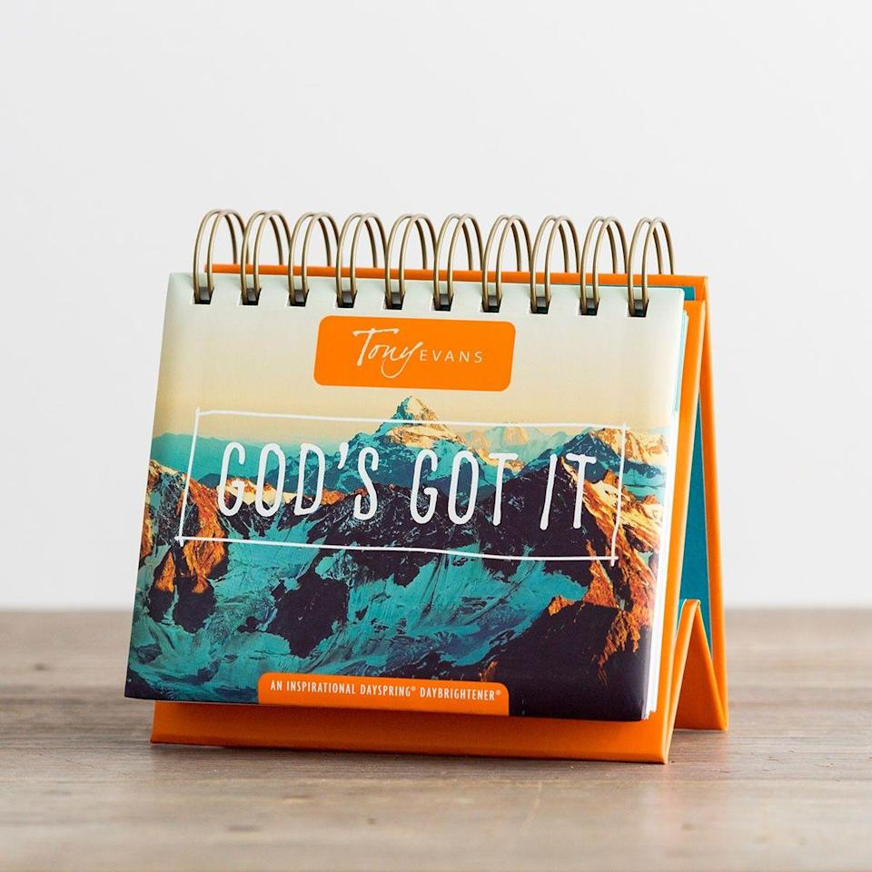 """<p><strong>Tony Evans</strong></p><p>dayspring.com</p><p><strong>$10.99</strong></p><p><a href=""""https://go.redirectingat.com?id=74968X1596630&url=https%3A%2F%2Fwww.dayspring.com%2Ftony-evans-god-s-got-it-365-day-perpetual-calendar&sref=https%3A%2F%2Fwww.womansday.com%2Flife%2Fg32498252%2Fchristian-fathers-day-gifts%2F"""" rel=""""nofollow noopener"""" target=""""_blank"""" data-ylk=""""slk:Shop Now"""" class=""""link rapid-noclick-resp"""">Shop Now</a></p><p>Sometimes all you need is a few words of encouragement to get you through the work day. This compact desk calendar features an inspiring daily piece of Scripture or personal wisdom from pastor and author <a href=""""https://tonyevans.org/about/tony-evans/"""" rel=""""nofollow noopener"""" target=""""_blank"""" data-ylk=""""slk:Tony Evans"""" class=""""link rapid-noclick-resp"""">Tony Evans</a>.</p>"""