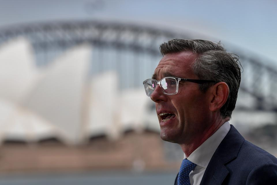 NSW Premier Dominic Perrottet speaks to the media during a press conference in Sydney, Friday. Source: AAP