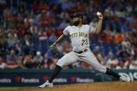 Pittsburgh Pirates' Felipe Vazquez pitches during the eighth inning of the team's baseball game against the Philadelphia Phillies, Tuesday, Aug. 27, 2019, in Philadelphia. Pittsburgh won 5-4. (AP Photo/Matt Slocum)