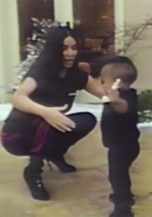 In the video posted to her app, Kim is seen cuddling her cute kids. Here she is with one-year-old Saint West. Photo: KimKardashianWest.com.