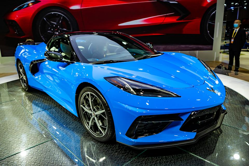 SHANGHAI, CHINA - NOVEMBER 05: A Chevrolet Corvette sports car is on display during the 3rd China International Import Expo (CIIE) at the National Exhibition and Convention Center on November 5, 2020 in Shanghai, China. (Photo by VCG/VCG via Getty Images)