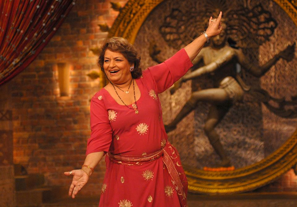 MUMBAI, INDIA - DECEMBER 02: Saroj Khan attends the set of new real tv show of 9X channel on December 02, 2007 in Mumbai, India. (Photo by Prodip Guha/Getty Images)