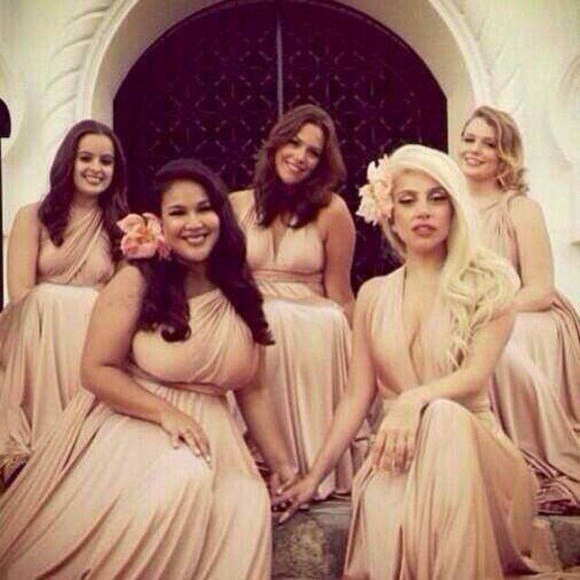 <p>Dressed in pale pink, Lady Gaga wowed alongside other bridesmaids at her pal Bo O'Connor's wedding. <i>(Instagram)</i></p>