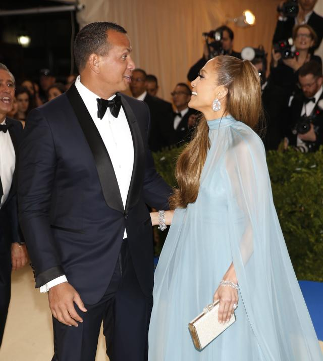 Metropolitan Museum of Art Costume Institute Gala - Rei Kawakubo/Comme des Garcons: Art of the In-Between - Arrivals - New York City, U.S. - 01/05/17 - Jennifer Lopez and Alex Rodriguez. REUTERS/Carlo Allegri