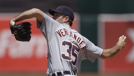 Detroit Tigers' Justin Verlander works against the Oakland Athletics during the inning of a baseball game Sunday, May 13, 2012, in Oakland, Calif. (AP Photo/Ben Margot)