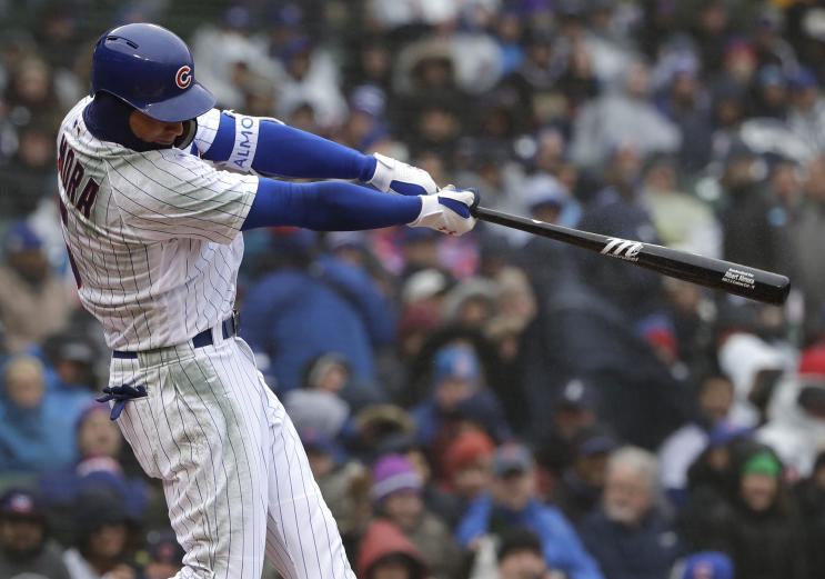 Cubs' outfielder Albert Almora Jr. follows through on his first-inning home run against the Braves. (AP)