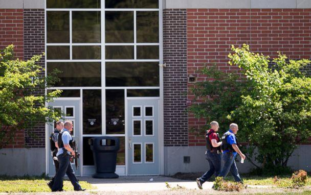 PHOTO: Law enforcement agents gather after a shooting at Noblesville West Middle Scholl in Noblesville, Ind., May 25, 2018. (Robert Scheer/IndyStar via USA Today Network)