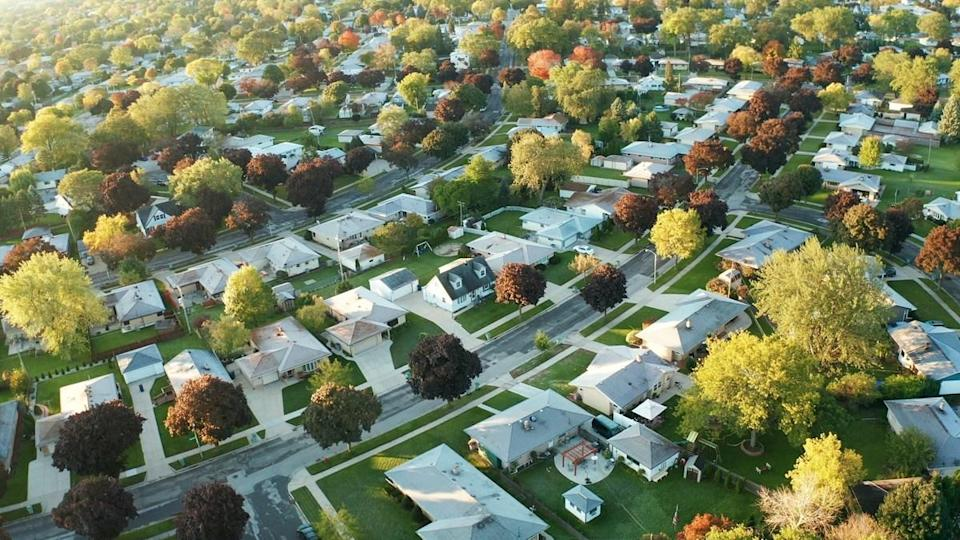 Aerial view of residential houses at autumn