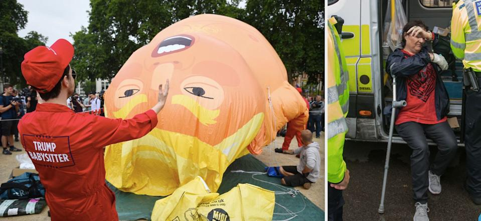 The woman was arrested after allegedly stabbing the Donald Trump blimp with scissors (WENN)