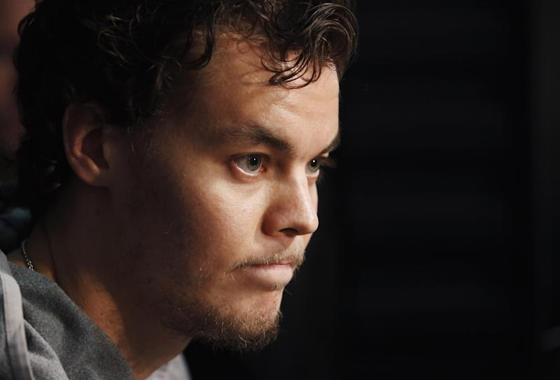 Boston Bruins goalie Tuukka Rask listens to a question during an NHL hockey news conference ahead of the Stanley Cup Final series between the Chicago Blackhawks and the Bruins on Tuesday, June 11, 2013 in Chicago. The Bruins are scheduled to face the Blackhawks in Game 1 on Wednesday in Chicago.(AP Photo/Charles Rex Arbogast)