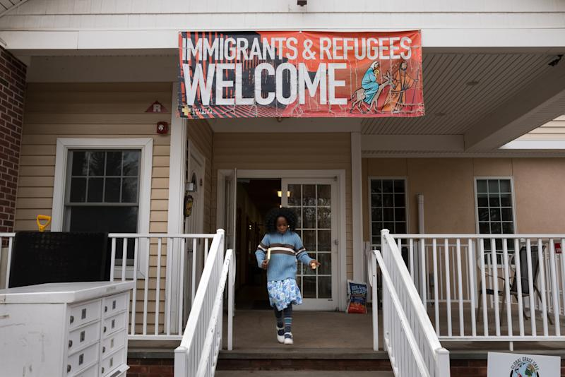 A banner in support of immigrants at the Reformed Church of Highland Park buildings in Highland Park, NJ on Feb. 4, 2018. (Photo: Alan Chin for Yahoo News)