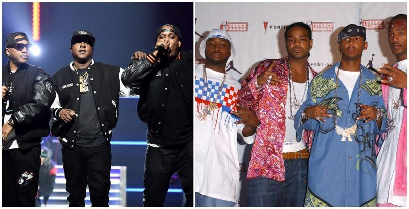 (L-R) Styles P, Jadakiss, and Sheek Louch of The Lox perform onstage during the 4th Annual TIDAL X: Brooklyn on October 23, 2018 in New York City; The Diplomats arrives at The Source Hip-Hop Music Awards 2003 on October 13, 2003 in Miami, Florida.