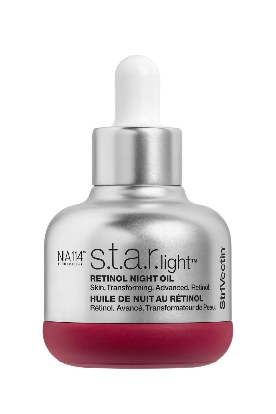 """<p><strong>STRIVECTIN\u003CSUP\u003E\u003C\u002FSUP\u003E</strong></p><p>nordstrom.com</p><p><strong>$99.00</strong></p><p><a href=""""https://go.redirectingat.com?id=74968X1596630&url=https%3A%2F%2Fshop.nordstrom.com%2Fs%2Fstrivectin-star-light-retinol-night-oil%2F5086331&sref=https%3A%2F%2Fwww.marieclaire.com%2Fbeauty%2Fg33597196%2Fbest-retinol-creams%2F"""" rel=""""nofollow noopener"""" target=""""_blank"""" data-ylk=""""slk:SHOP IT"""" class=""""link rapid-noclick-resp"""">SHOP IT</a></p><p>A single drop of this dry-finish oil can give your nightly moisturizer an anti-aging boos, and its chia seed oil and plant-derived squalene helps hydrate the skin while it's being exfoliated. </p>"""