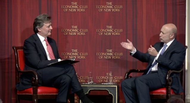 Goldman Sachs CEO Lloyd Blankfein (R) speaks with Bloomberg editor-in-chief John Micklethwait at the Economic Club of New York on June 19, 2018
