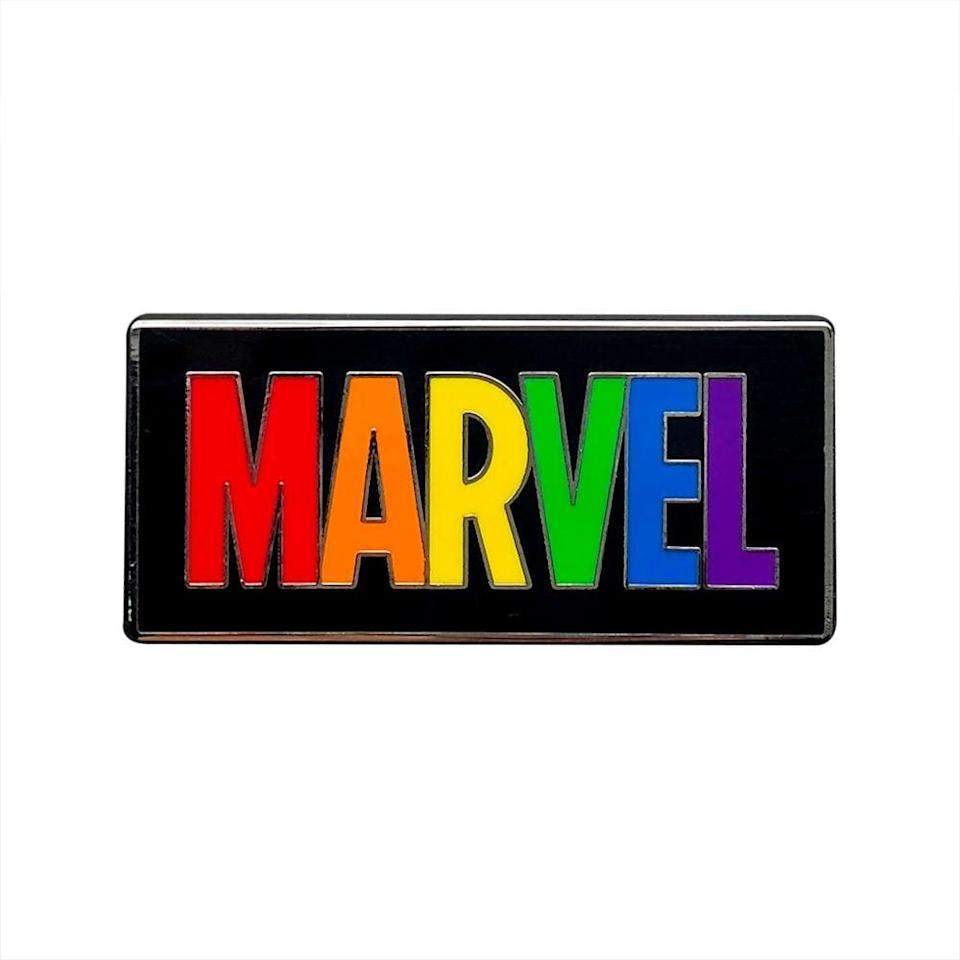 <p>How cool does this <span>Marvel Logo Pin</span> ($10) look in rainbow colors? </p>