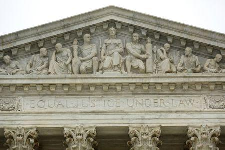 """The phrase """"Equal Justice Under Law"""" adorns the west entrance to the U.S. Supreme Court building in Washington"""